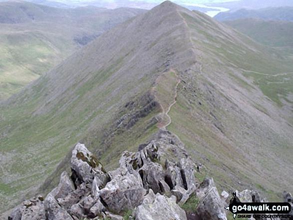Walk c224 Helvellyn via Swirral Edge and Raise from Glenridding - Swirral Edge and Catstye Cam from Helvellyn
