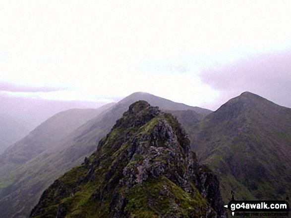 Looking west along the Aonach Eagach ridge at the Crazy Pinnacles from Meal Dearg (Aonach Eagach)