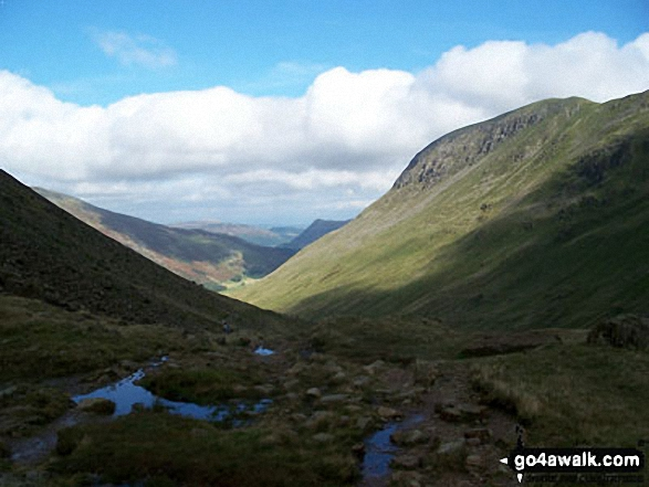 Grisedale with St Sunday Crag (right) from the outflow of Grisedale Tarn