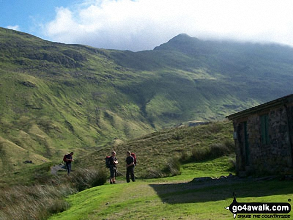 Ruthwaite Lodge (Climbing Hut), upper Grisedale with Fairfield in the background