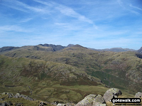 Walk c167 Wetherlam and Swirl How from Low Tilberthwaite - The Langdale Pikes from the summit of Wetherlam