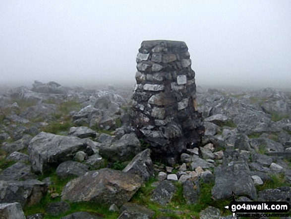 Walk Picture/View: Moel Gornach (Garreg Lwyd) summit trig point in mist in The Brecon Beacons, Carmarthenshire, Wales by Ian Gough (1)