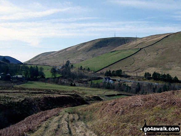 Comb Hill (Langhope Height) and The Mosspaul Hotel<br>from the lower slopes of Lightning Hill