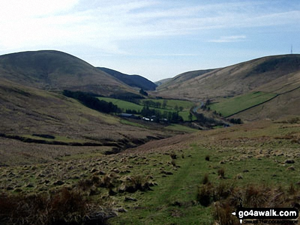 Dod Hill (Teviothead), Linhope Farm and Comb Hill (Langhope Height)<br>from the lower slopes of Lightning Hill
