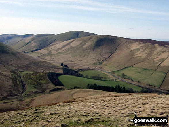 Wisp Hill (Teviothead) and and Comb Hill (Langhope Height)<br>above The Mosspaul Hotel from Lightning Hill