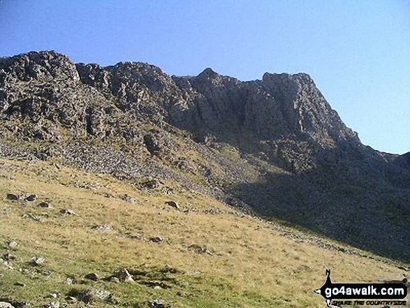 Scafell Pike from Lingmell. Walk route map c453 The Scafell Mountains from Wasdale Head, Wast Water photo