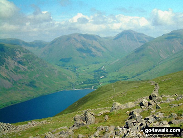 Wast Water, Yewbarrow (left), Kirk Fell (centre left), Great Gable (centre right) and Lingmell Fell (right) from Illgill Head