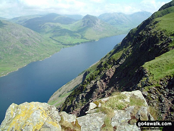 Walk c440 Whin Rigg, Illgill Head and Boat How from Miterdale Bridge - Red Pike (centre left), Pillar, Yewbarrow (centre), Kirk Fell & Great Gable (right) beyond Wast Water from Whin Rigg