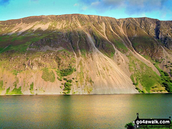 The Wast Water Screes below Illgill Head and Whin Rigg. Walk route map c101 Pillar and Little Scoat Fell from Wasdale Head, Wast Water photo