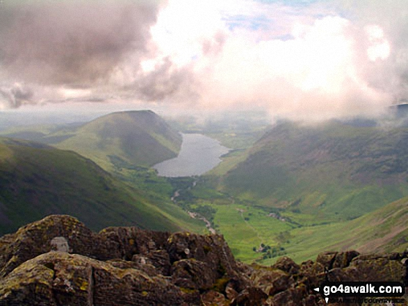 The Wasdale Valley featuring Lingmell (left), Illgill Head and Whin Rigg (left of centre in the distance), Wast Water (centre) and Yewbarrow (right) from near Westmorland Cairn on the summit of Great Gable