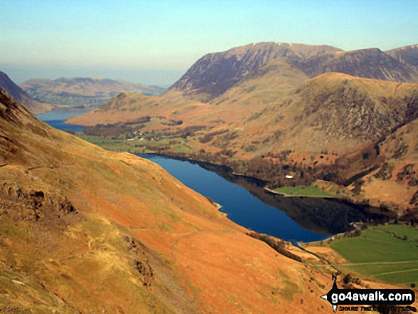 Crummock Water (far left) and Buttermere with Grasmoor beyond from Hay Stacks. Walk route map c228 Hay Stacks from Buttermere photo