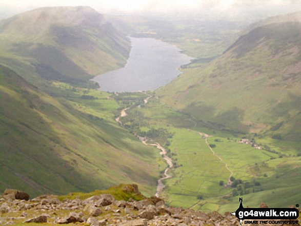 Illgill Head and Whin Rigg (left) Wast Water and Yewbarrow and Middle Fell (right) from Westmorland Cairn, Great Gable. Walk route map c101 Pillar and Little Scoat Fell from Wasdale Head, Wast Water photo