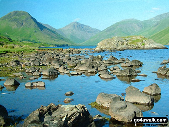 Wasdale Head featuring Yewbarrow (left), the shoulder of Kirk Fell, Great Gable (centre) and Lingmell (right) from across Wast Water. Walk route map c172 Scafell Pike via The Corridor Route from Wasdale Head, Wast Water photo