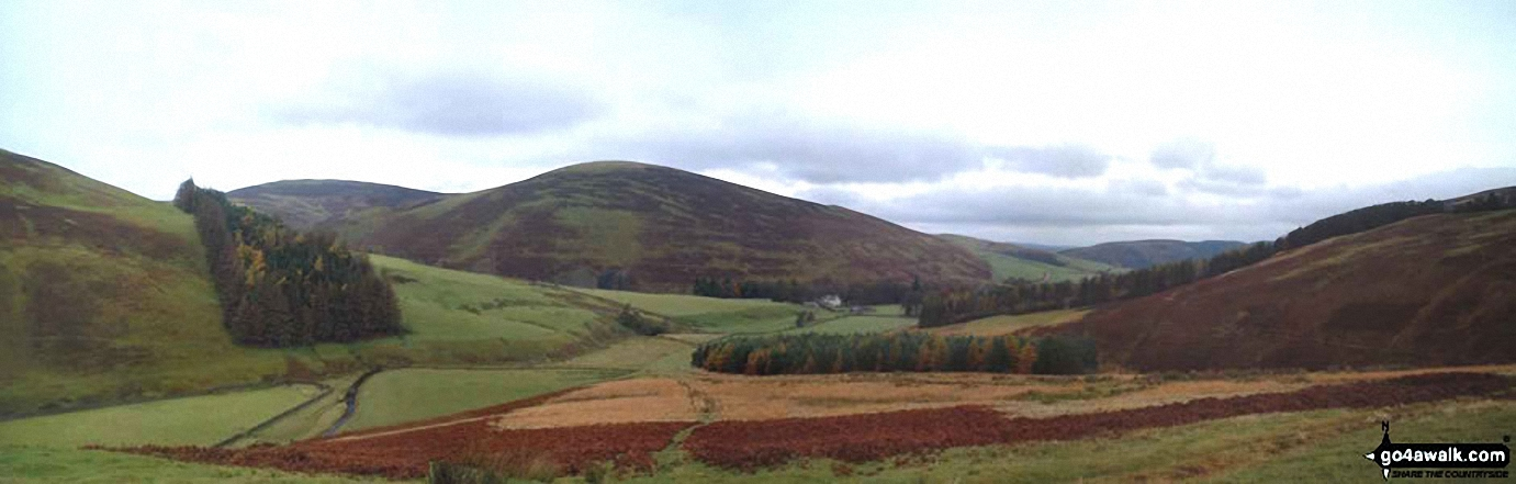 *Lamington Hill, Knowe Dod, Birthwood and the road to Culter Allers Farm from Culter Fell
