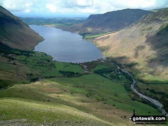 Wast Water and Wasdale Head from the lower slopes of Great Gable and Kirk Fell. Walk route map c141 Great Gable and Pillar from Wasdale Head, Wast Water photo