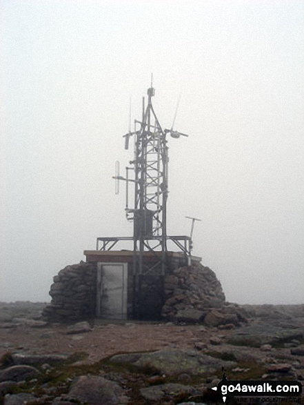 The Weather Station on the summit of Cairn Gorm in mist