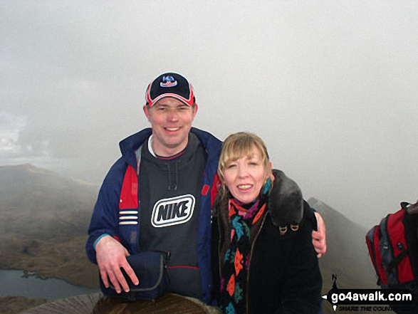Me and my wife on Mount Snowdon. Walk route map gw134 Mount Snowdon (Yr Wyddfa) avoiding Crib Goch from Pen y Pass photo