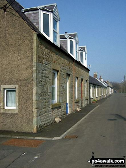 Row of riverside houses beside Liddle Water in Newcastleton