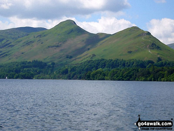Cat Bells (Catbells) from the Derwent Water Ferry. Walk route map c399 Cat Bells and Derwent Water from Keswick photo