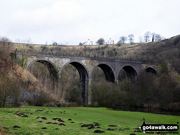 Monsal Dale Viaduct from Monsal Dale. Walk route map d270 Monsal Head, Monsal Dale and Deep Dale from Ashford in the Water photo