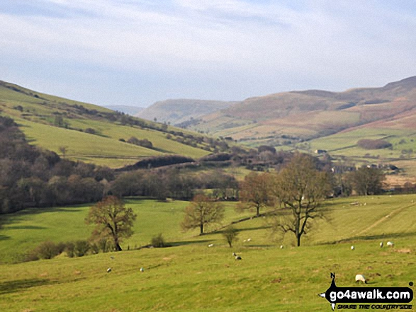 Edale End and The Vale of Edale. Walk route map d296 Jacob's Ladder and Kinder Scout from Edale photo