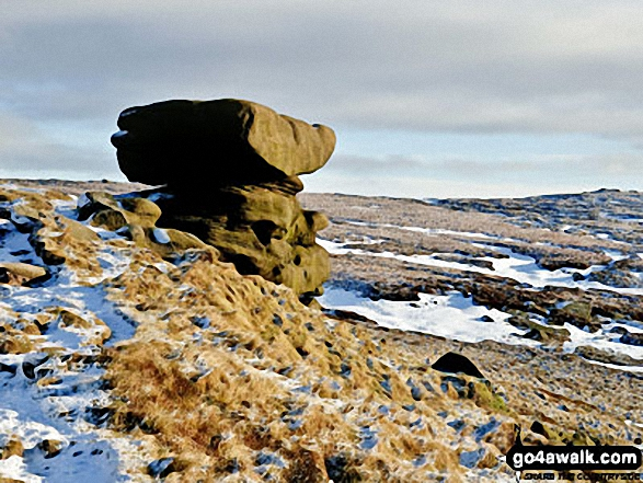Noe Stool (Edale Head). Walk route map d296 Jacob's Ladder and Kinder Scout from Edale photo