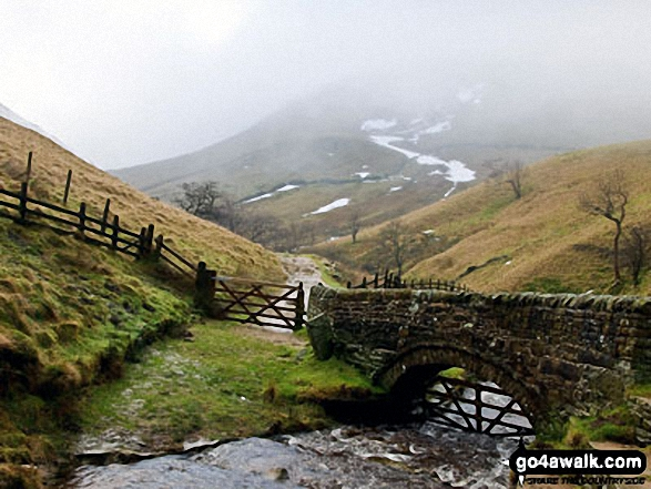 The stone footbridge at the bottom of Jacob's Ladder (Edale). Walk route map d296 Jacob's Ladder and Kinder Scout from Edale photo