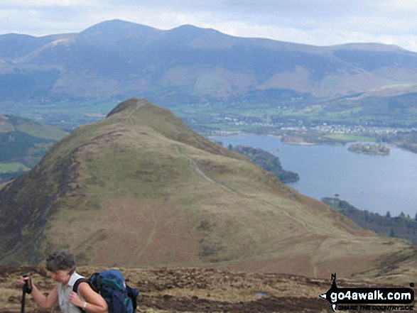 Cat Bells (Catbells) from Maiden Moor The Newlands Horseshoe with Keswick and Skiddaw beyond