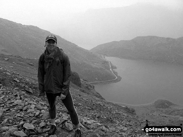 My sister on the Miners' Track up Snowdon with Glaslyn in the background