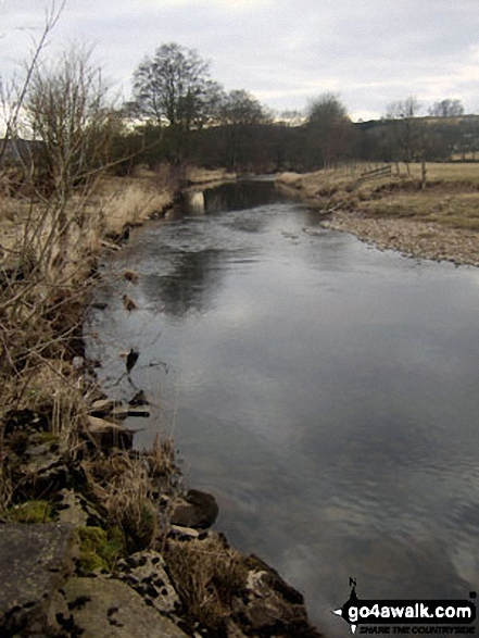 The River Hodder at Newton. Walk route map l126  Longridge Fell (Spire Hill) from Jeffrey Hill photo