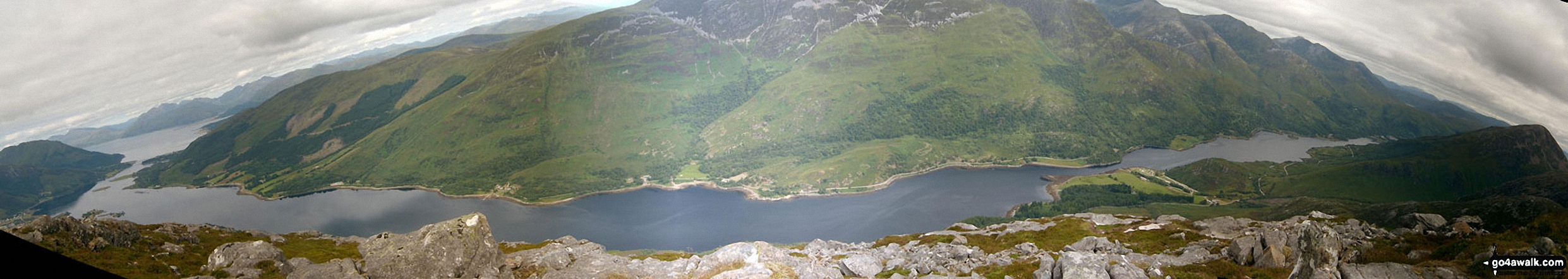 *Loch Linhhe (left), Loch Leven, Mam na Gualainn and Kinlochleven (far right) from the summit of Sgorr na Ciche (Pap of Glen Coe)
