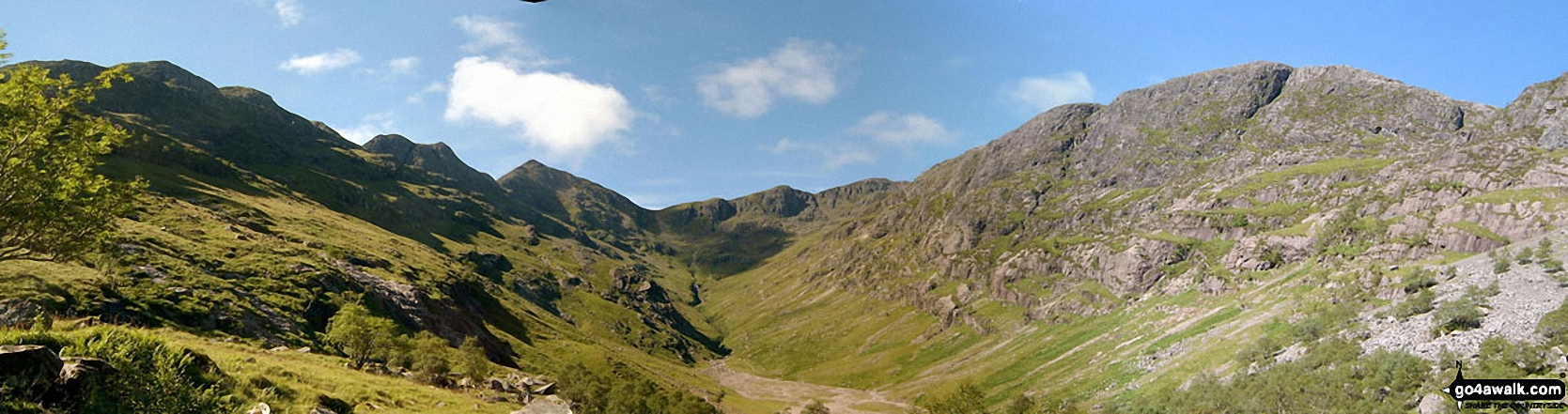 *Beinn Fhada (Stob Coire Sgreamhach) (left), Stob Coire Sgreamhach (centre left), Bidean Nam Bian (centre right) and Gearr Aonach (right) from Coire Gabhail (The 'Lost Valley' of Glen Coe)