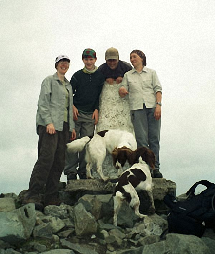 My son, two friends and their dogs and me on the summit of Cadair Idris