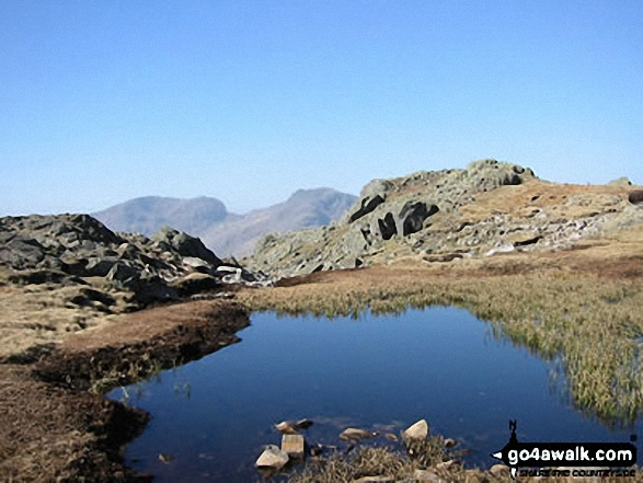 Walk c108 Crinkle Crags from The Old Dungeon Ghyll, Great Langdale - Sca Fell (left) and Scafell Pike (centre) from Crinkle Crags (Long Top)