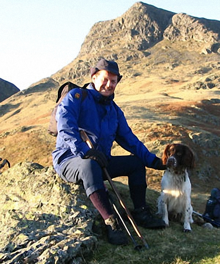 My pal Tony Ford & his dog Harry on Pavey Ark & Harrison Stickle walk The Lake District Cumbria England walks