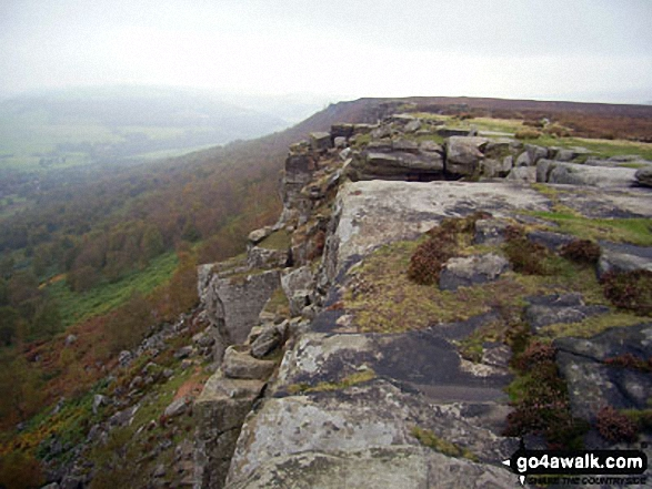 Curbar Edge. Walk route map d139 Froggatt Edge, Curbar Edge, The Derwent Valley and Grindleford from Hay Wood, Longshaw photo