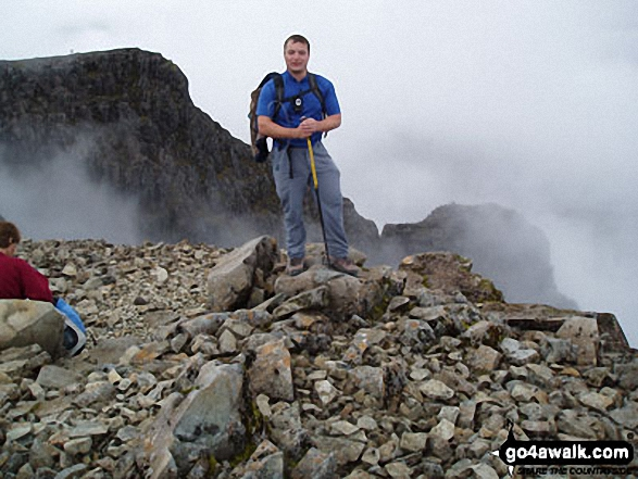 On the summit of Ben Nevis. Walk route map h154 Ben Nevis and Carn Mor Dearg from The Nevis Range Mountain Gondola photo