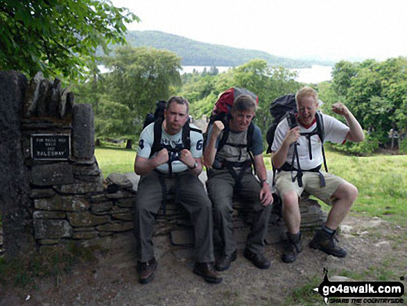 Iain, Tim and I finishing the mammoth 80 odd mile Dales Way walk at Windermere on the finishing seat