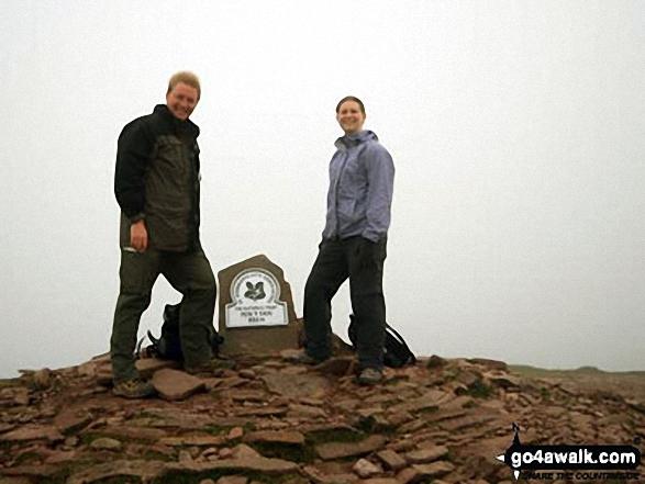My girlfriend and I at the top of Pen y Fan. Walk route map po100 Pen y Fan from Neuadd Reservoir photo