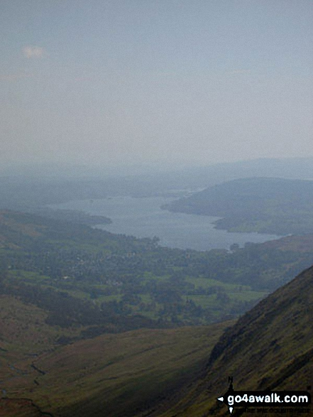 Windermere from Heron Pike. Walk route map c247 The Fairfield Horseshoe from Ambleside photo