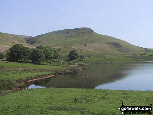 Embsay Crag from Embsay Reservoir. Walk route map ny124 Rylstone Fell, Cracoe Fell, Thorpe Fell Top and Embsay Moor from Embsay photo