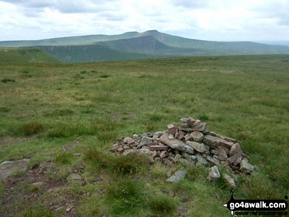Waun Rydd summit cairn with Corn Du and Pen y Fan (The Brecon Beacons) in the background