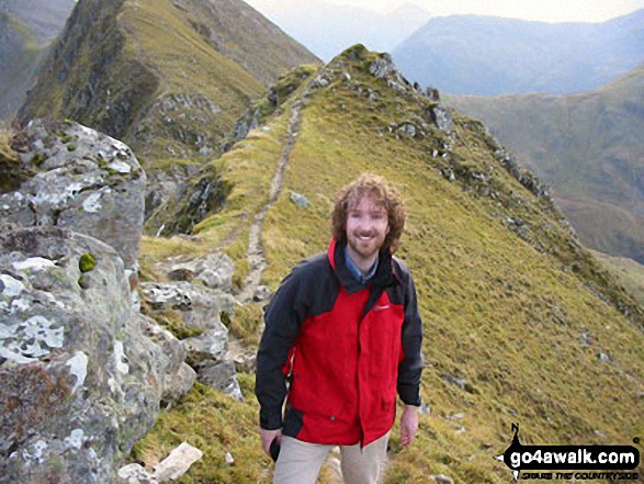 This is my husband on Sgurr a' Mhaim near the end of the Ring of Steall with the Devil's Ridge behind