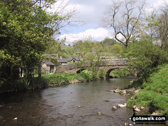 Milldale Bridge and River Dove. Walk route map s109 Dove Dale and Wetton from Ilam photo
