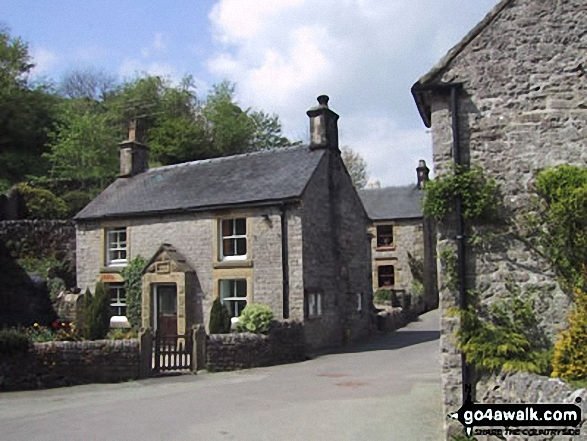 Milldale Village. Walk route map s109 Castern Hall, Wetton, Alstonefield and Milldale from Ilam photo