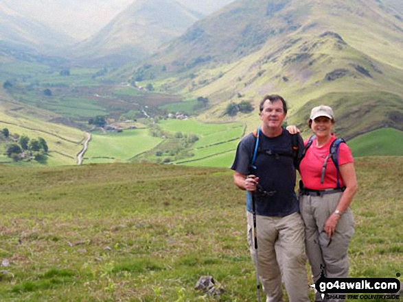 Janet and Dave on Hallin Fell with Martindale in the background