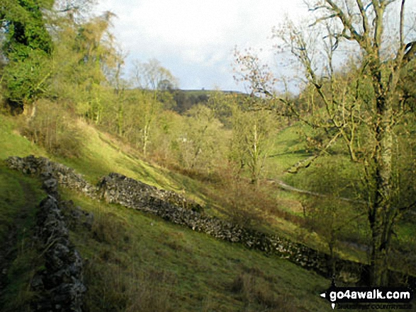 Dove Dale near Milldale, . Walk route map s125 Alstonefield, Wetton, Castern Wood Nature Reserve and The River Dove from Milldale photo