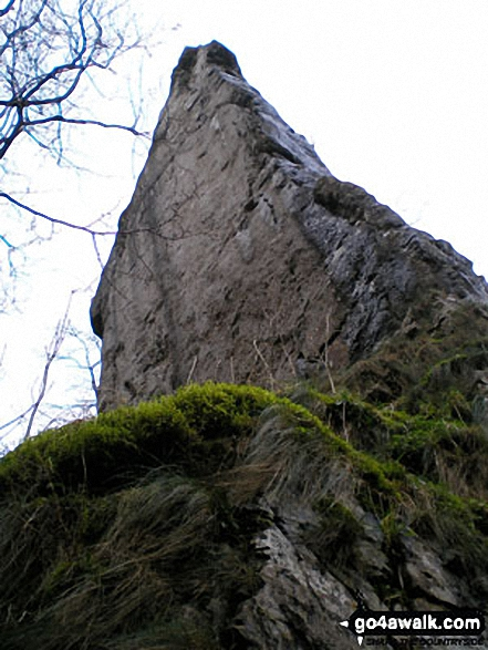 Ilam Rock, Dove Dale near Milldale, . Walk route map s125 Alstonefield, Wetton, Castern Wood Nature Reserve and The River Dove from Milldale photo