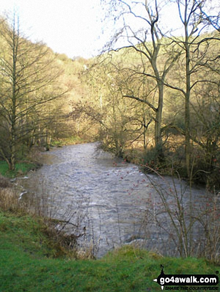 The River Dove, Dove Dale near Milldale, . Walk route map s125 Alstonefield, Wetton, Castern Wood Nature Reserve and The River Dove from Milldale photo
