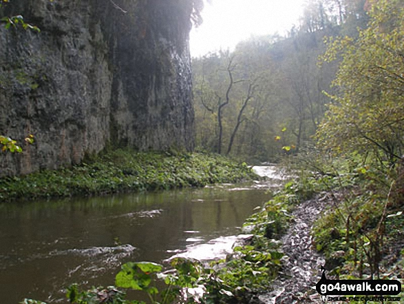 The River Wye in Chee Dale. Walk route map d265 The Monsal Trail and Taddington from Wye Dale photo